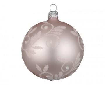 Vánoční koule pudrová, spirálka lístek