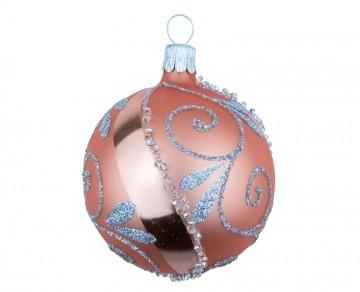 Vánoční koule meruňková světlá, spirálka lístek