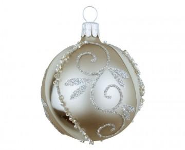 Vánoční koule šedá, spirálka lístek