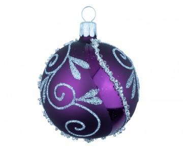 Vánoční koule fialová tmavá, spirálka lístek