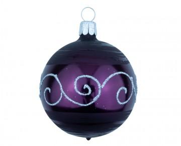 Vánoční koule fialová tmavá, spirálka