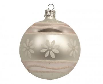 Vánoční koule perleťová, proužky kvítečka