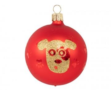 Vánoční koule červená, pejsek