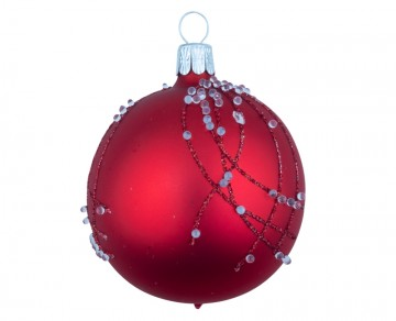 Vánoční koule červená, perličky