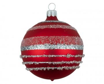 Vánoční koule červená, pruhy