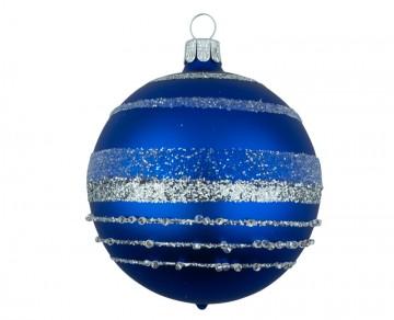Vánoční koule modrá tmavá, pruhy