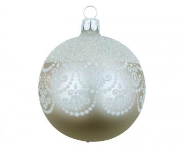 Vánoční koule šedá, dekor krajka