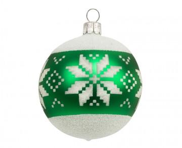 Vánoční koule zelená tmavá, vločka