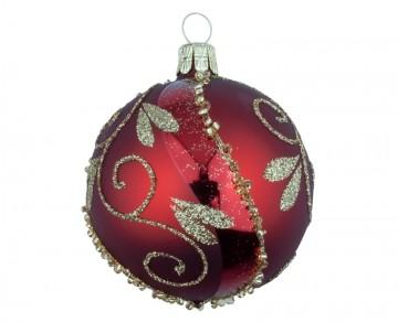 Vánoční koule vínová, spirálka lístek