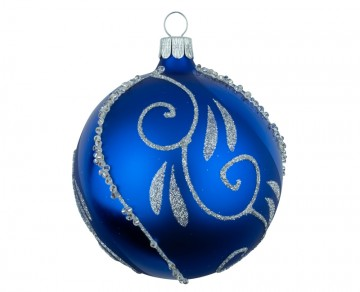 Vánoční koule modrá tmavá, spirálka lístek