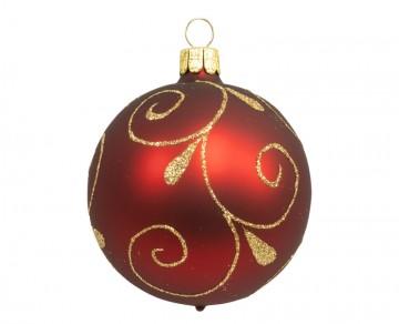 Vánoční koule bordó, spirálka lístek