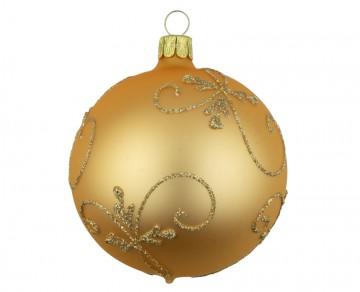 Vánoční koule zlatá tmavá, spirálka lístek