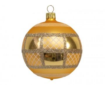 Vánoční koule zlatá tmavá, mřížka obdélník