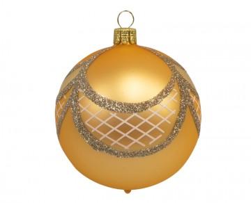 Vánoční koule zlatá tmavá, mřížka závěs