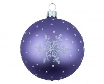 Vánoční koule fialová světlá, vločka