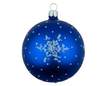 Vánoční koule modrá tmavá, vločka
