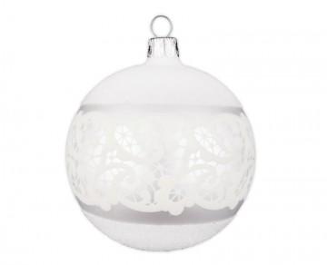 Vánoční koule perleťová, dekor krajka