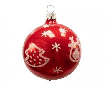 Vánoční koule červená porcelánová, stromeček sob
