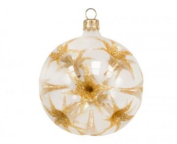 Vánoční koule zlatá čirá, hvězdy