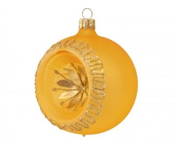 Vánoční koule zlatá tmavá, květ