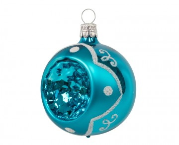 Vánoční koule tyrkysová tmavá, puntík