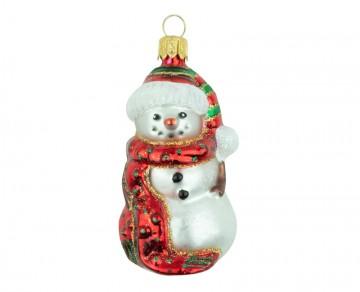Skleněná figurka sněhulák, červený