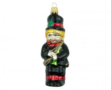 Skleněná figurka kominík, černý