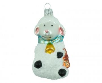 Skleněná figurka ovečka, perleťový
