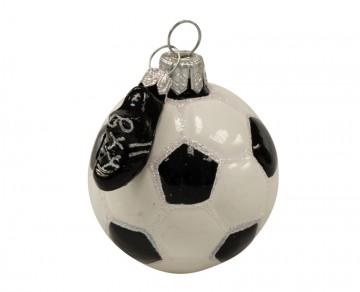 Vánoční ozdoba fotbalový míč, bílá