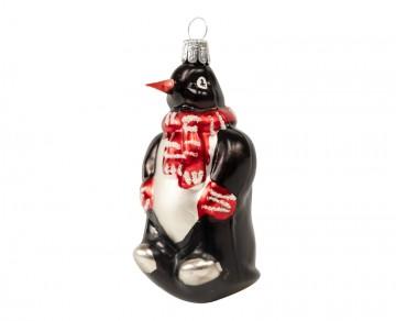 Skleněné zvířátko tučňák, černé