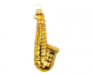 Vánoční ozdoba saxofon, zlatá tmavá