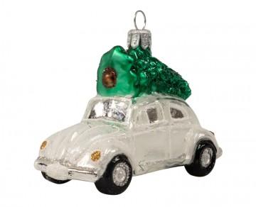 Skleněné auto se stromkem, perleťové