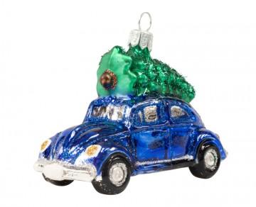 Skleněné auto se stromkem, tmavě modré