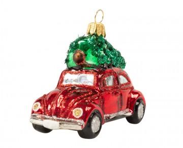 Skleněné auto se stromkem, červené