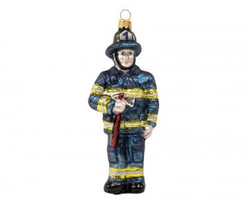 Skleněná figurka hasič, modrá tmavá