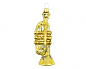 Vánoční ozdoba trumpeta, zlatá tmavá