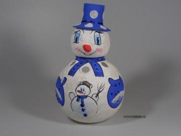 Skleněná dekorace, sněhulák, modrý