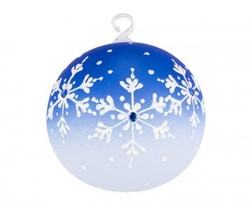 Vánoční koule modrá tmavá, vločky jméno