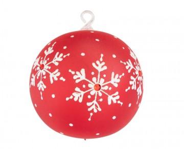 Vánoční koule červená, vločky jméno