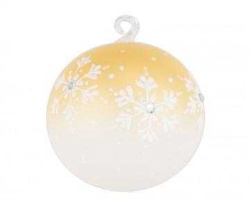 Vánoční koule zlatá tmavá, vločky jméno