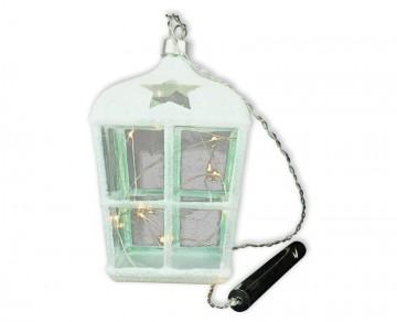 Skleněná LED Lucerna, perleťová