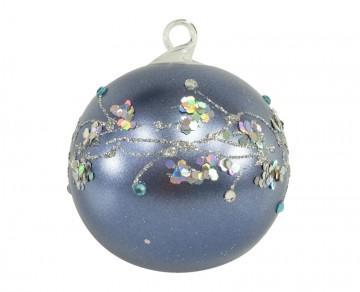 Vánoční koule modrá tmavá, větvičky
