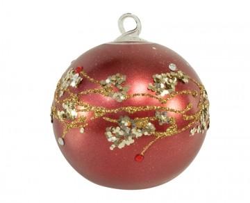 Vánoční koule červená, větvičky