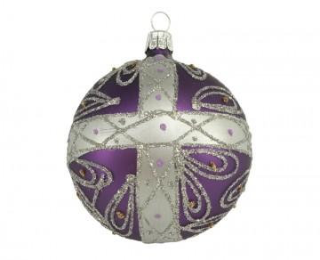 Vánoční koule fialová tmavá, kříž