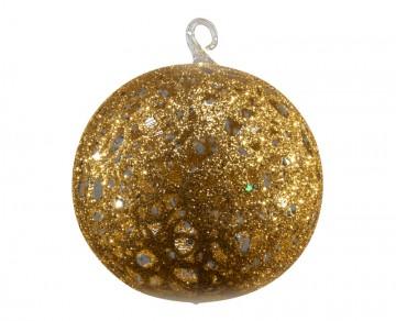 Vánoční koule zlatá tmavá, drátkovaná