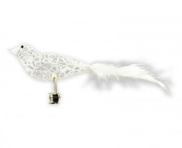 Skleněný ptáček drátkovaný, perleťový