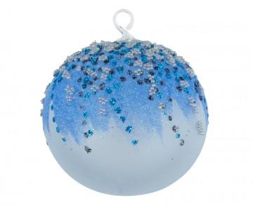 Vánoční koule modrá tmavá, perličky