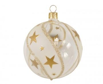 Vánoční koule zlatá čirá, hvězdičky