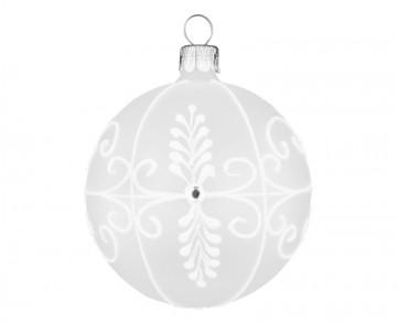 Vánoční koule bílá matná, dekor krajka