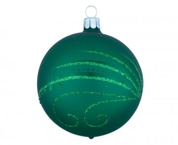 Vánoční koule zelená tmavá, spirálka